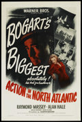 "Movie Posters:War, Action in the North Atlantic (Warner Brothers, 1943). One Sheet(27"" X 41""). War. ..."