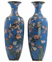 A Pair of Monumental Japanese Vases  Unknown maker, Japanese 19th century, Meiji period Cloisonné enamel Unmarked...