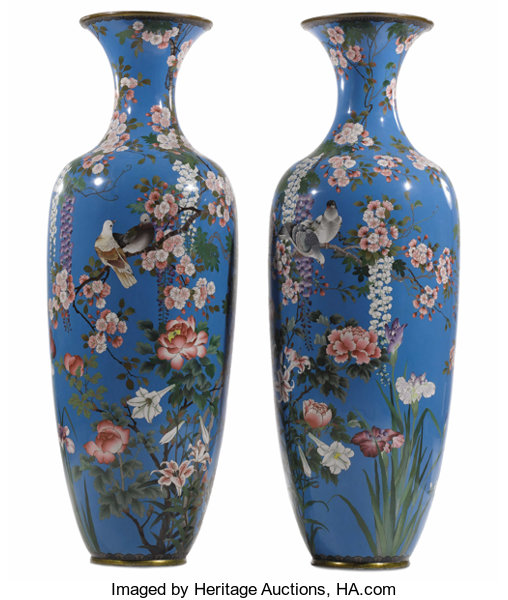 A Pair Of Monumental Japanese Vases Unknown Maker Japanese Lot
