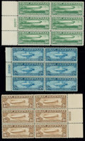 Stamps, (C13-C15) Airmail, 1930 Graf Zeppelin complete...