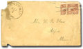 Stamps, (113c) 1869, 2¢ brown, bisected...