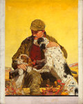 Paintings, JOSEPH FRANCIS KERNAN (American, 1878-1958). Hunter with Dogs, Outdoor Life cover illustration, c. 1940. Oil on canvas. ...