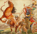 Mainstream Illustration, WILLY POGANY (Hungarian-American, 1882-1955). Battle scene.Watercolor on board. 12 x 13 in.. Signed lower left. ...