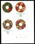 Stamps, (3252f) 1998, 32¢ Christmas Wreath, red omitted on 2 stamps...