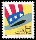 """Stamps, (3269) 1998 Unissued non-denominated """"H"""" postal card rate stamp..."""