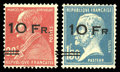 """Stamps, (C3b, C4a) France, Airmail, 1928 """"Ile de France"""" complete, surcharge 8mm instead of 6mm..."""