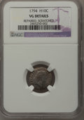 Early Half Dimes: , 1794 H10C --Repaired, Scratched--NGC Details. VG. NGC Census:(1/117). PCGS Population (3/158). Mintage: 7,700. Numismedia W...