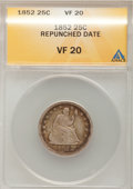 Seated Quarters, 1852 25C --Repunched Date--ANACS. VF20. NGC Census: (0/39). PCGSPopulation (1/45). Mintage: 177,060. Numismedia Wsl. Price...