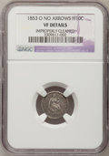 Seated Half Dimes: , 1853-O H10C No Arrows--Improperly Cleaned--NGC Details. VF. NGCCensus: (2/16). PCGS Population (4/21). Mintage: 160,000. N...
