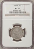 Seated Quarters: , 1867-S 25C VG10 NGC. NGC Census: (2/9). PCGS Population (2/32).Mintage: 48,000. Numismedia Wsl. Price for problem free NGC...