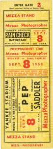 Boxing Collectibles:Memorabilia, 1950 Willie Pep vs. Sandy Saddler Full Ticket....