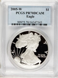 Modern Bullion Coins, 2005-W $1 Silver Eagle PR70 Deep Cameo PCGS. PCGS Population (968).NGC Census: (0). Numismedia Wsl. Price for problem fre...
