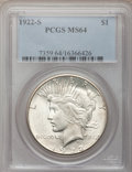 Peace Dollars: , 1922-S $1 MS64 PCGS. PCGS Population (1600/268). NGC Census:(1603/226). Mintage: 17,475,000. Numismedia Wsl. Price for pro...