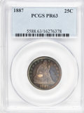 Proof Seated Quarters: , 1887 25C PR63 PCGS. PCGS Population (42/123). NGC Census: (27/154).Mintage: 710. Numismedia Wsl. Price for problem free NG...
