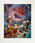 Original Comic Art:Miscellaneous, Carl Barks Afoul of the Flying Dutchman Regular Edition Lithograph #77/345 (Another Rainbow, 1985).... (Total: 2 Items)