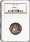 Seated Quarters, 1884 25C MS62 Prooflike NGC....