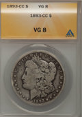 Morgan Dollars: , 1893-CC $1 VG8 ANACS. NGC Census: (63/2381). PCGS Population (95/4636). Mintage: 677,000. Numismedia Wsl. Price for problem...