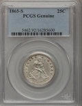 Seated Quarters, 1865-S 25C NG Genuine PCGS. Mintage: 41,000. (#5462). From ThePerry Creek Collection....