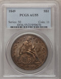 Seated Dollars: , 1849 $1 AU55 PCGS. PCGS Population (41/89). NGC Census: (35/125).Mintage: 62,600. Numismedia Wsl. Price for problem free N...
