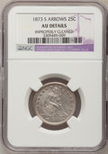 Seated Quarters: , 1873-S 25C Arrows--Improperly Cleaned--NGC Details. AU. NGC Census:(3/29). PCGS Population (4/17). Mintage: 156,000. Numis...