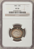 Seated Quarters: , 1863 25C VF35 NGC. NGC Census: (1/45). PCGS Population (4/57).Mintage: 191,600. Numismedia Wsl. Price for problem free NGC...
