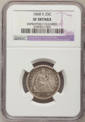 Seated Quarters: , 1868-S 25C --Improperly Cleaned--NGC Details. XF. NGC Census:(5/20). PCGS Population (4/16). Mintage: 96,000. Numismedia Ws...