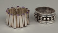 Silver Smalls:Other , TWO MEXICAN SILVER CUFFS. Mexico, circa 1950. Marks: RTA,MEXICO, SILVER, 925. 7-1/8 inches long (matchstick) (18.1cm)... (Total: 2 Items Items)