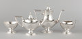 Silver Holloware, American:Tea Sets, A FIVE-PIECE AMERICAN SILVER TEA AND COFFEE SERVICE . InternationalSterling Co., Meridan Connecticut, circa 1920. Marks: ...(Total: 4 Items Items)