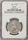 Seated Half Dollars: , 1861-O 50C AU55 NGC. NGC Census: (19/140). PCGS Population(20/140). Mintage: 2,532,633. Numismedia Wsl. Price for problem ...