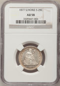Seated Quarters: , 1877-S 25C Over Horizontal S AU58 NGC. NGC Census: (9/22). PCGSPopulation (4/36). Mintage: 8,900,000. Numismedia Wsl. Pric...