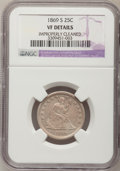 Seated Quarters: , 1869-S 25C --Improperly Cleaned--NGC Details. VF. NGC Census:(0/19). PCGS Population (2/38). Mintage: 76,000. Numismedia Ws...