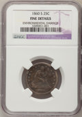 Seated Quarters: , 1860-S 25C --Environmental Damage--NGC Details. Fine. NGC Census:(1/9). PCGS Population (4/16). Mintage: 56,000. Numismedia...