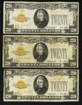 Small Size:Gold Certificates, Fr. 2402 $20 1928 Gold Certificates. Three Examples. Fine or Better.. ... (Total: 3 notes)