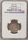 Seated Quarters: , 1864 25C --Improperly Cleaned--NGC Details. XF. NGC Census: (1/40).PCGS Population (6/56). Mintage: 93,600. Numismedia Wsl....