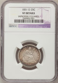 Seated Quarters: , 1851-O 25C --Improperly Cleaned--NGC Details. VF. NGC Census:(1/14). PCGS Population (3/20). Mintage: 88,000. Numismedia Ws...