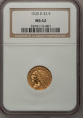 1925-D $2 1/2 MS62 NGC. NGC Census: (5336/7805). PCGS Population (3203/5446). Mintage: 578,000. Numismedia Wsl. Price fo...
