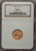 Indian Quarter Eagles: , 1925-D $2 1/2 MS62 NGC. NGC Census: (5336/7805). PCGS Population (3203/5446). Mintage: 578,000. Numismedia Wsl. Price for p...