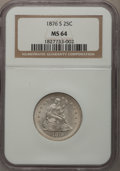 Seated Quarters: , 1876-S 25C MS64 NGC. NGC Census: (64/27). PCGS Population (65/24).Mintage: 8,596,000. Numismedia Wsl. Price for problem fr...