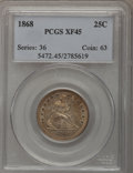 Seated Quarters: , 1868 25C XF45 PCGS. PCGS Population (3/36). NGC Census: (1/22).Mintage: 29,400. Numismedia Wsl. Price for problem free NGC...
