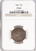 Proof Seated Quarters: , 1880 25C PR64 NGC. NGC Census: (101/95). PCGS Population (92/89).Mintage: 1,355. Numismedia Wsl. Price for problem free NG...
