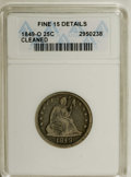 Seated Quarters: , 1849-O 25C --Cleaned--ANACS. Fine 15 Details. Significantly wornwith areas of gold-gray, dove-gray, and slate patina. Deep ...