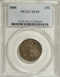 Seated Quarters: , 1888 25C XF45 PCGS. Soft bluish-gray and orange toning drapes thisluminous Choice XF quarter. Small spots of pearl-gray on...
