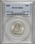 Seated Quarters: , 1889 25C MS64 PCGS. Satiny and lightly toned with pleasingpreservation and a quality strike. A mere 12,000 pieces were str...