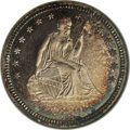 Proof Seated Quarters: , 1880 25C PR67 NGC. Type One Reverse. This remarkably well-preservedproof Seated quarter is an instructive exercise in toni...
