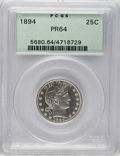 Proof Barber Quarters: , 1894 25C PR64 PCGS. Each side of this Choice Barber quarter displays modest contrast. The shining silver-white surfaces exh...