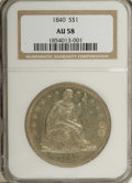 Seated Dollars: , 1840 $1 AU58 NGC. Modest friction on Liberty's arm, gown, and kneedeny a Mint State grade, t...