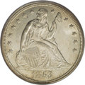 Seated Dollars: , 1853 $1 MS64 ICG. Speckles of gold-tan patina visit lustroussilver-gray surfaces, especially...