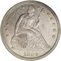 Seated Dollars: , 1854 $1 AU50 NGC. Considerably rarer than the 1853, the 1854probably saw widespread exportat...