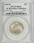 Washington Quarters: , 1935-D 25C MS66 PCGS. Ex: W.M. Garber Collection. Zones oflavender-blue and olive-gold patina grace each side of this high...