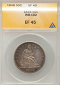 Seated Half Dollars: , 1848 50C XF45 ANACS. WB-102. NGC Census: (2/47). PCGS Population(4/53). Mintage: 580,000. Numismedia Wsl. Price for probl...
